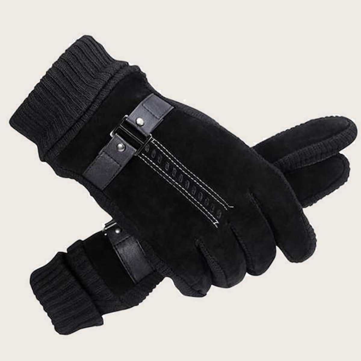 Guys Contrast Knit Gloves 1pair in Black by ROMWE on GOOFASH