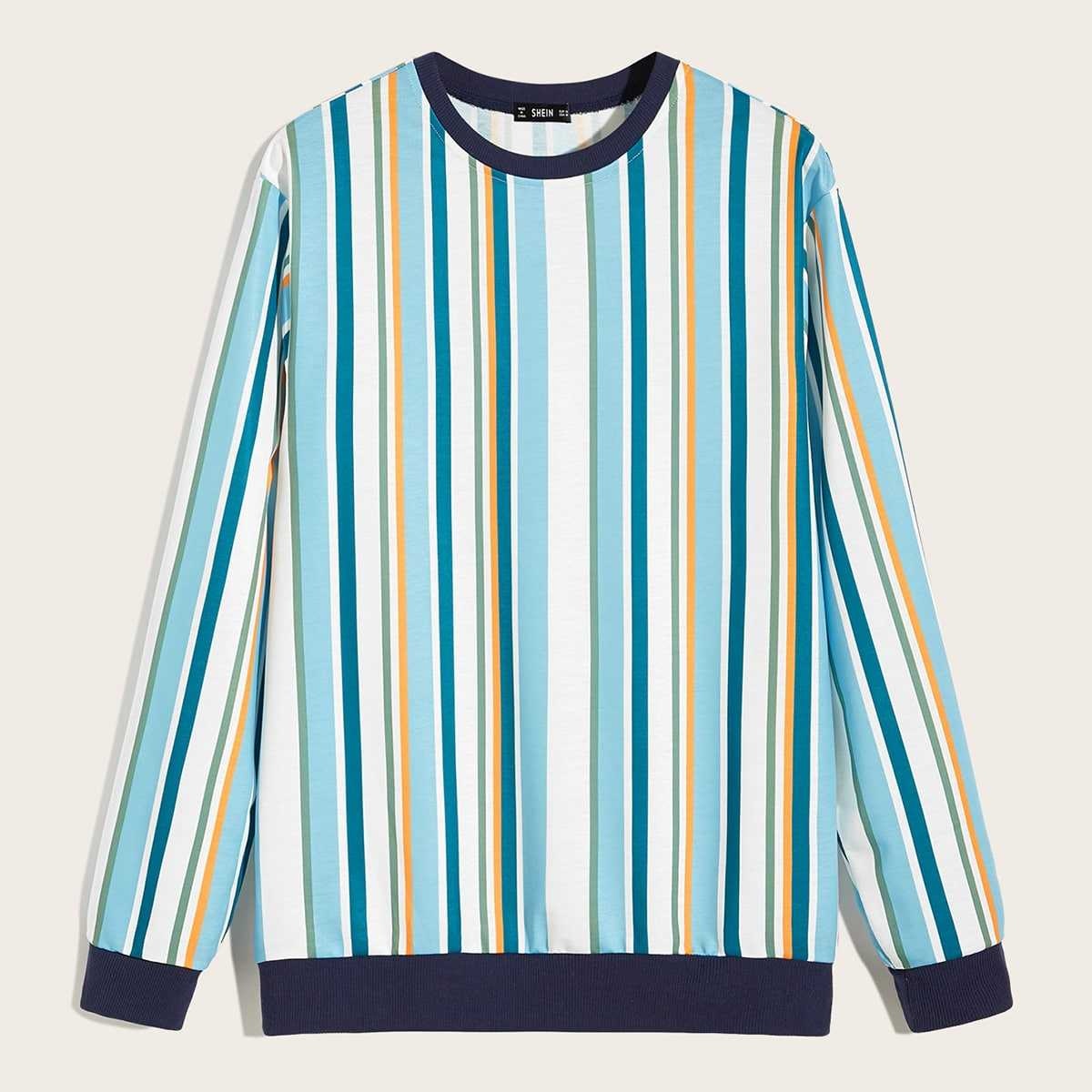 Guys Contrast Neck Striped Pullover in Multicolor by ROMWE on GOOFASH