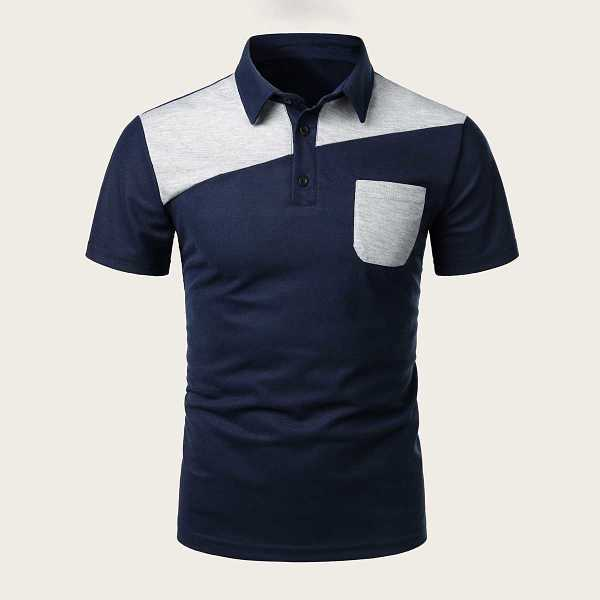 Guys Contrast Panel Pocket Polo Shirt in Navy by ROMWE on GOOFASH