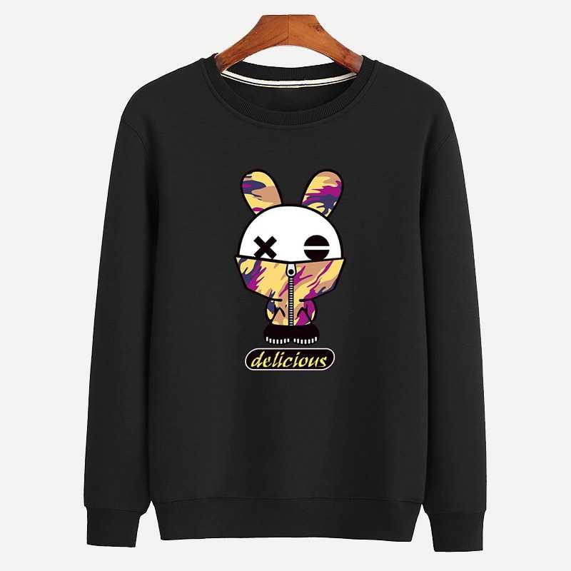 Guys Crew Neck Letter And Cartoon in Black by ROMWE on GOOFASH