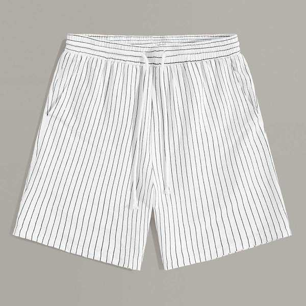 Guys Drawstring Waist Slant Pocket Striped Shorts in White by ROMWE on GOOFASH