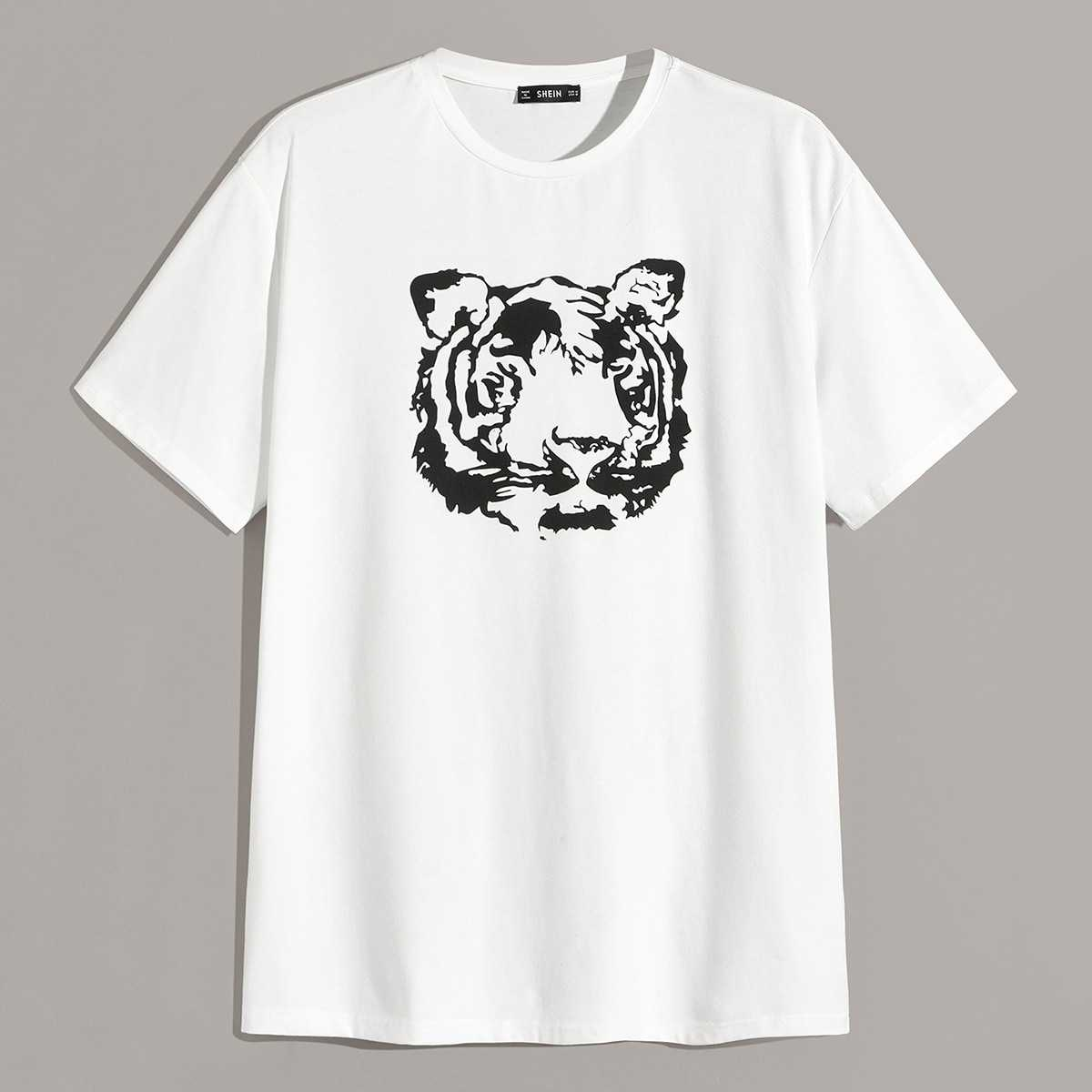 Guys Drop Shoulder Tiger Print Tee in White by ROMWE on GOOFASH