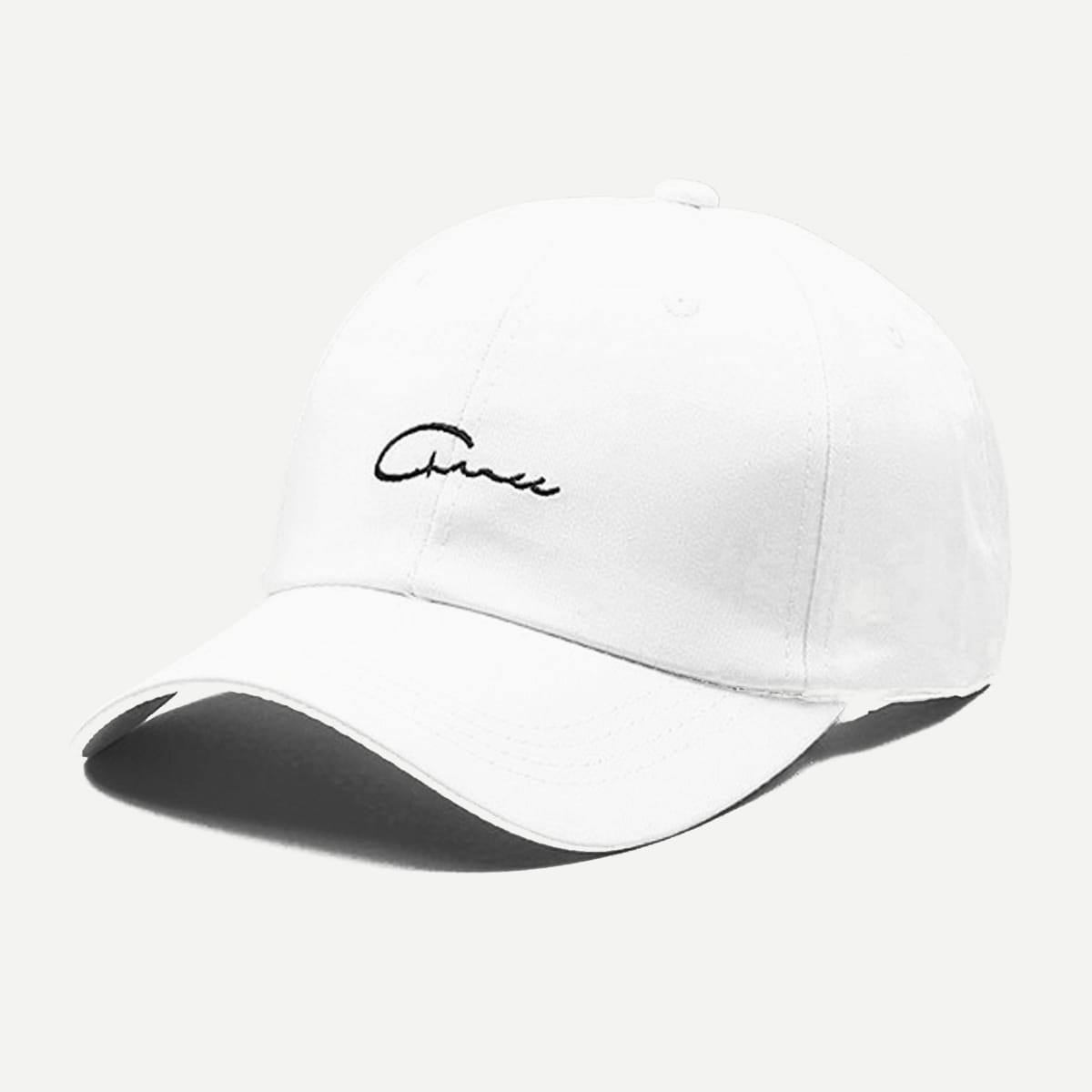 Guys Embroidered Letter Baseball Cap in White by ROMWE on GOOFASH