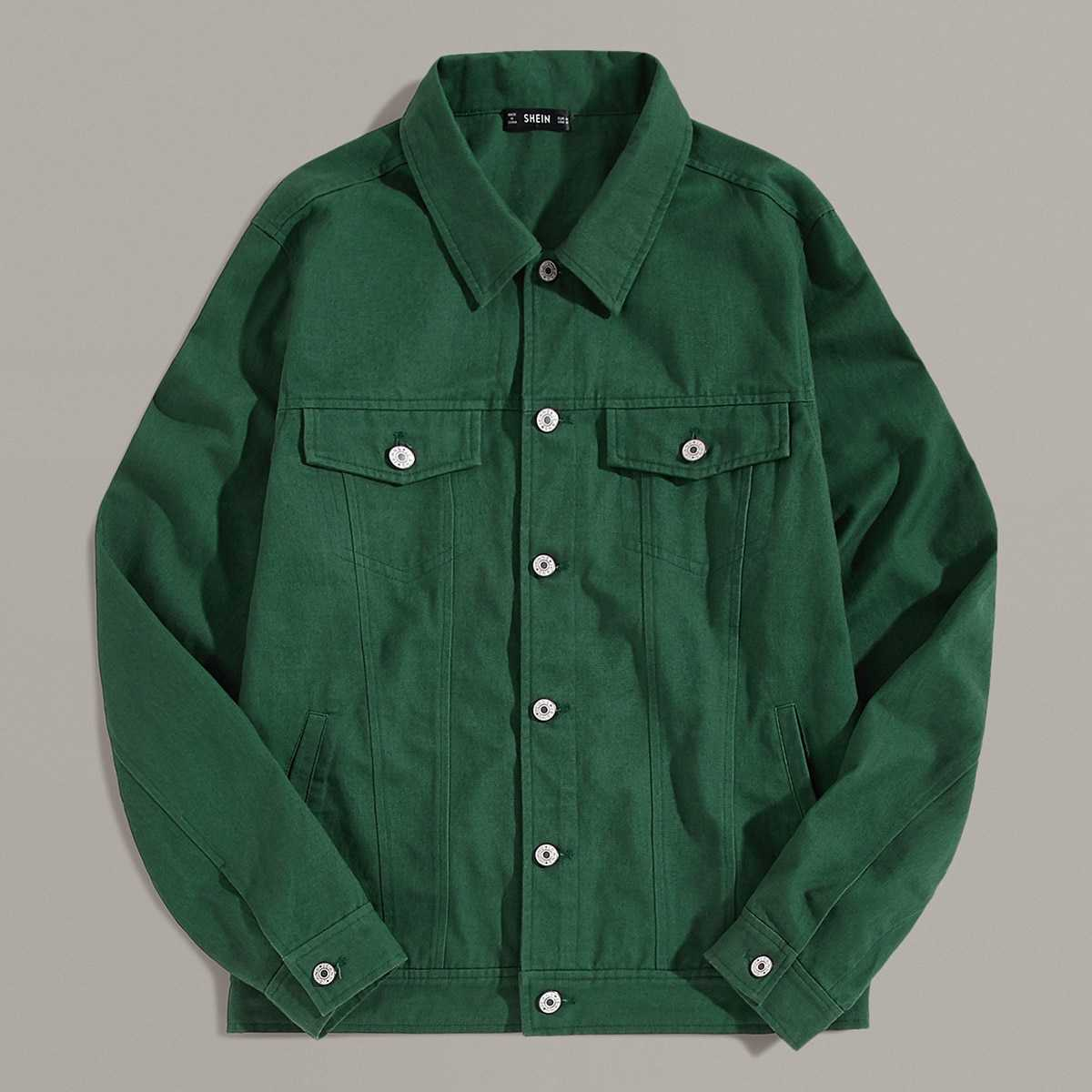 Guys Flap Pocket Patched Shirt in Green by ROMWE on GOOFASH