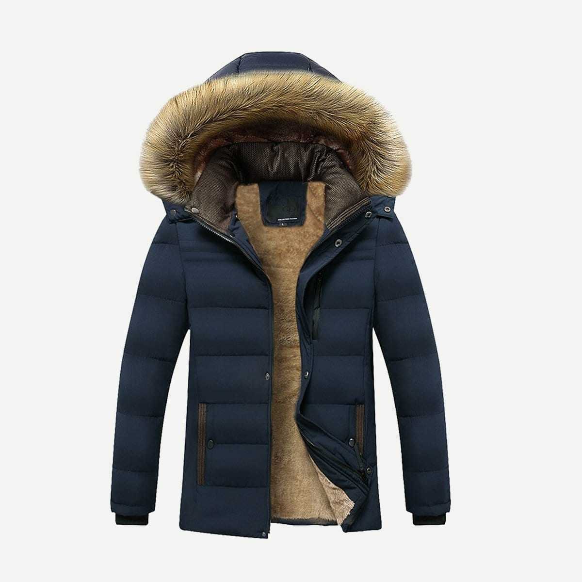 Guys Fleece Lined Solid Hooded Puffer Coat in Navy by ROMWE on GOOFASH