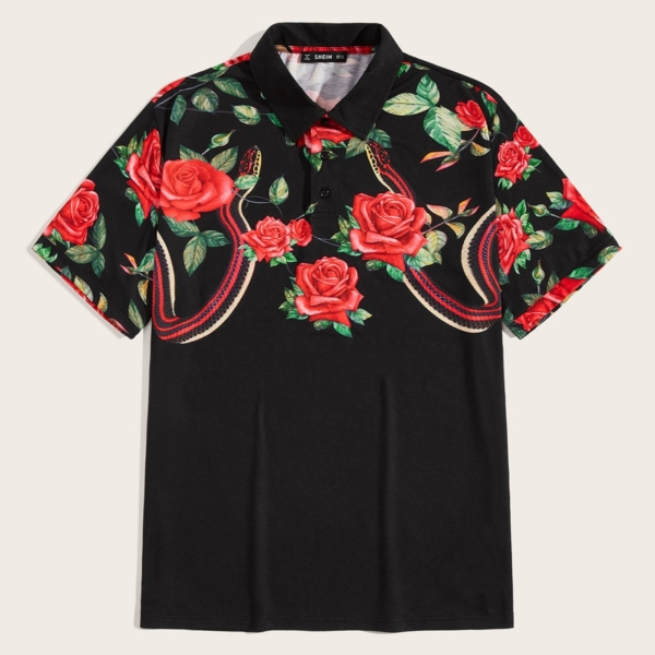 Guys Flower and Snake Print Polo Shirt in Black by ROMWE on GOOFASH