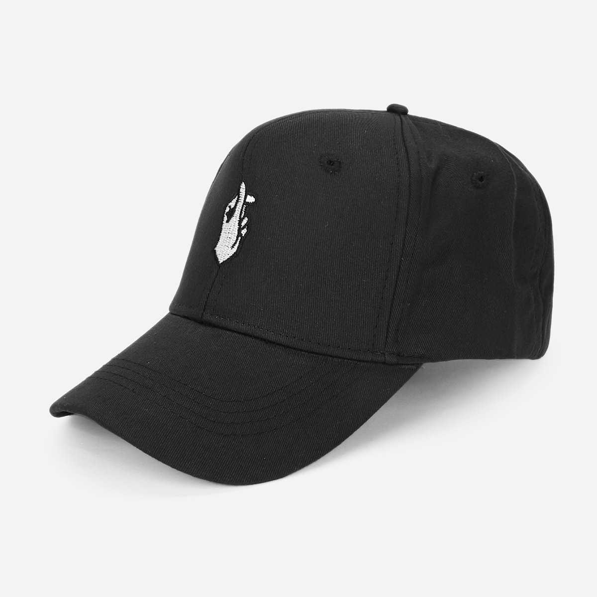 Guys Gesture Embroidery Baseball Cap in Black by ROMWE on GOOFASH