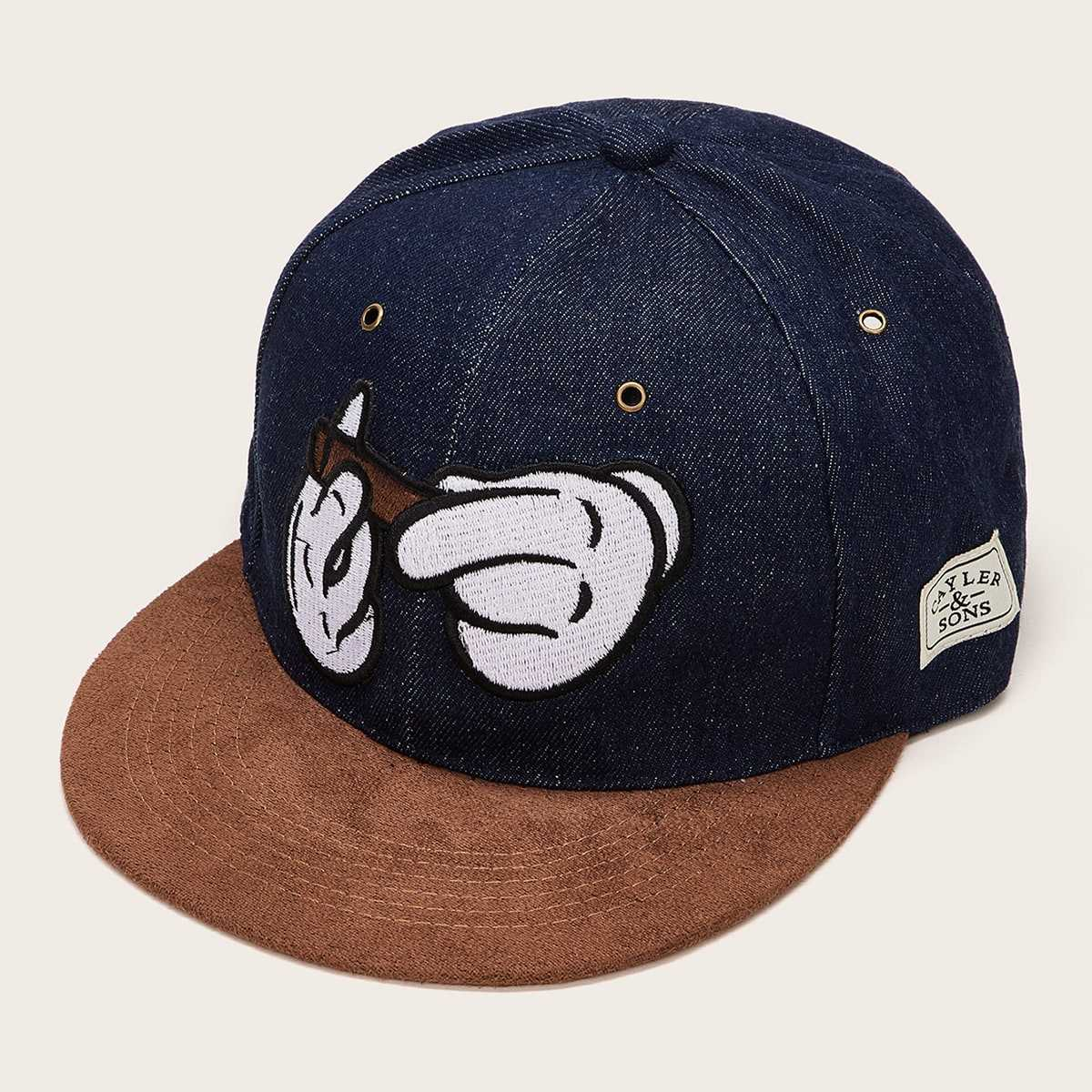 Guys Hand Embroidery Baseball Cap in Black by ROMWE on GOOFASH