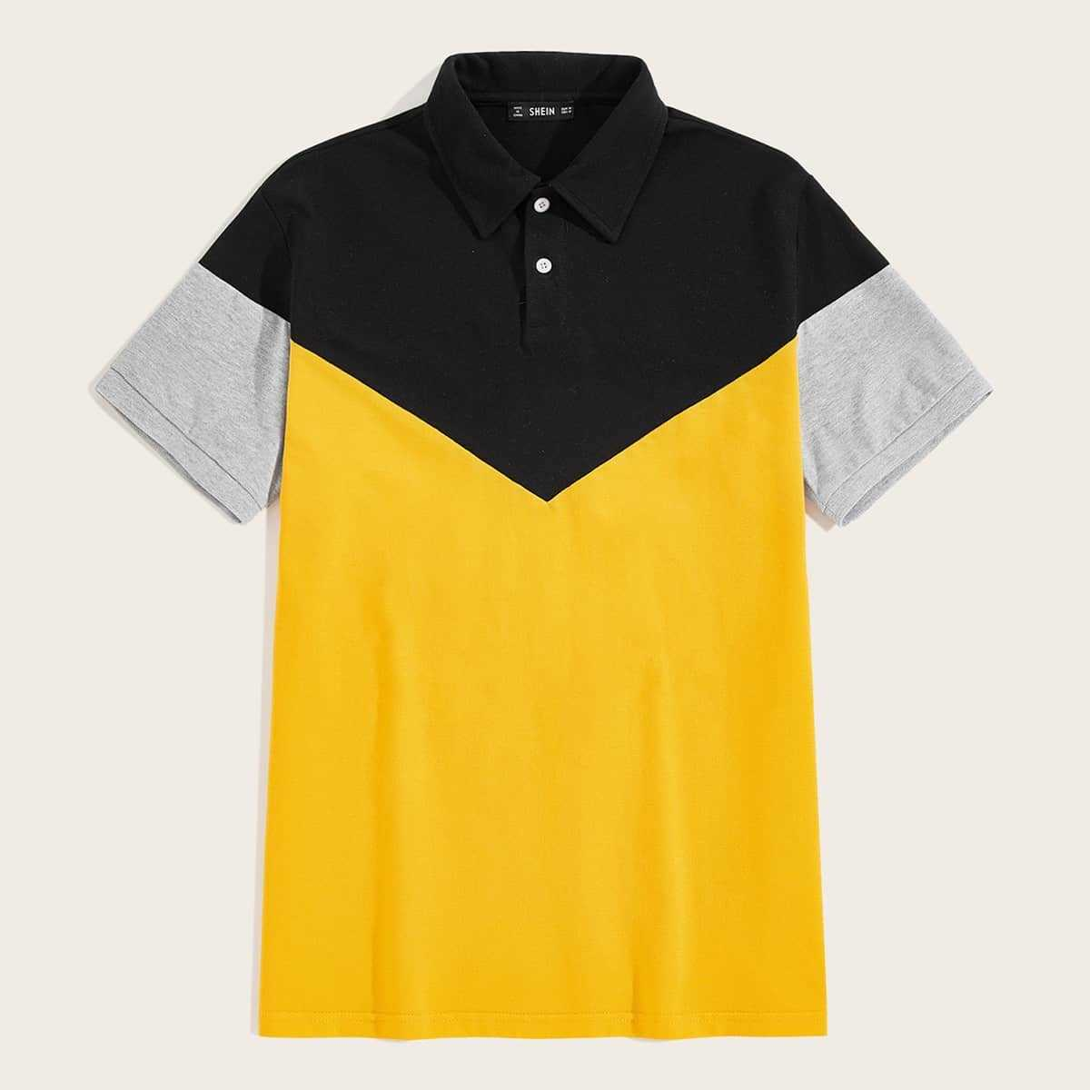 Guys Heather Grey Panel Colorblock Polo Shirt in Multicolor Bright by ROMWE on GOOFASH
