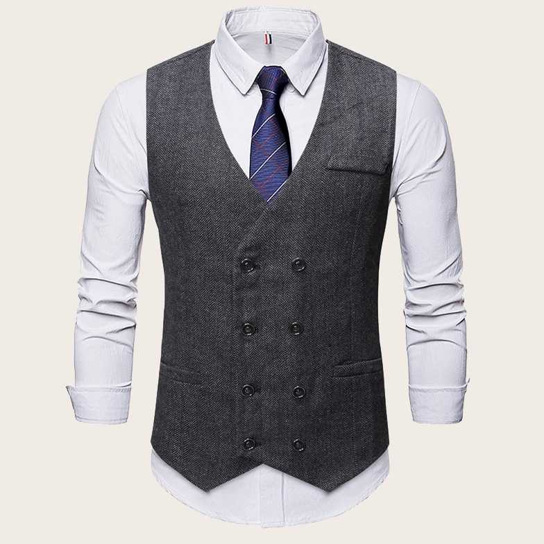 Guys Herringbone Pattern Double Breasted Waistcoat in Grey by ROMWE on GOOFASH