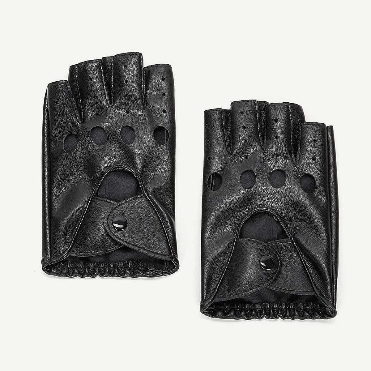 Guys Hollow Out Half Finger Gloves in Black by ROMWE on GOOFASH