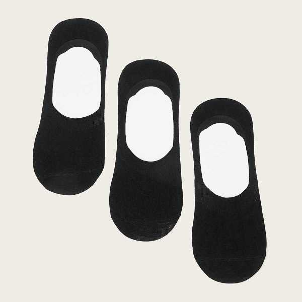 Guys Invisible Socks 3pairs in Black by ROMWE on GOOFASH