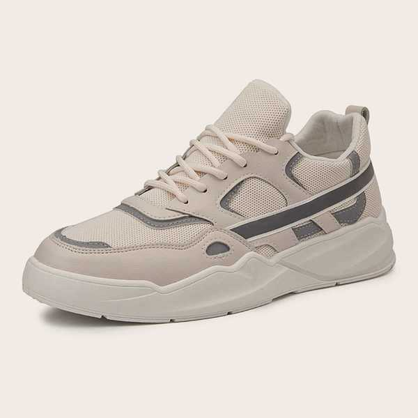 Guys Lace-up Front Mesh Panel Trainers in Beige by ROMWE on GOOFASH