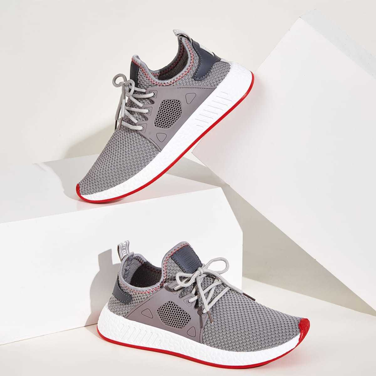Guys Lace-up Front Mesh Trainers in Grey by ROMWE on GOOFASH