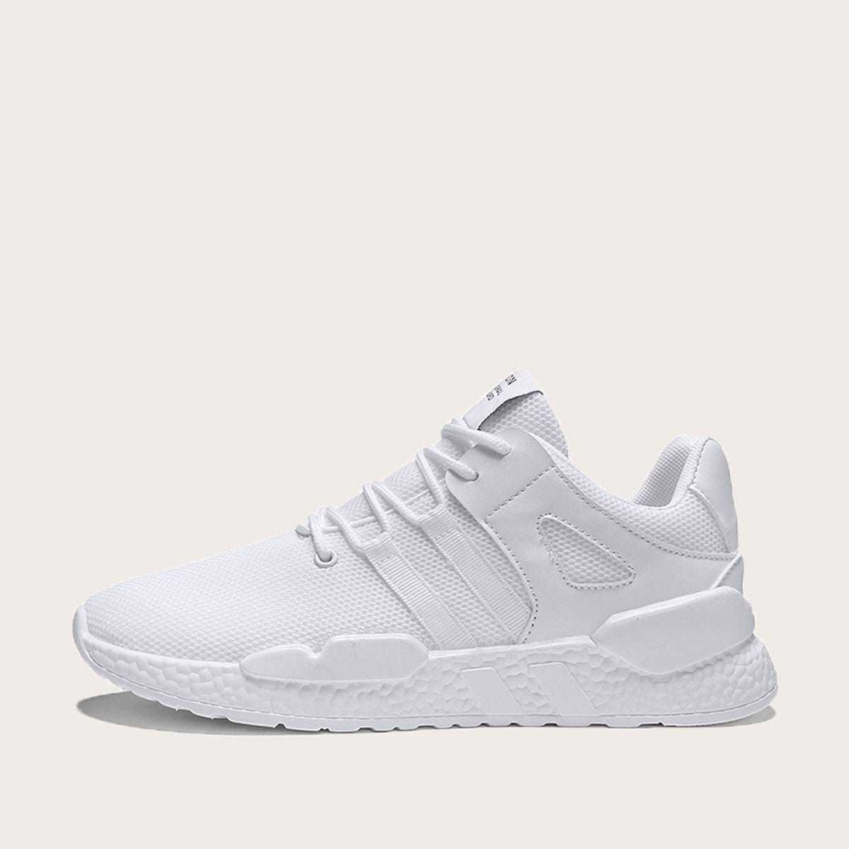 Guys Lace-up Front Mesh Trainers in White by ROMWE on GOOFASH
