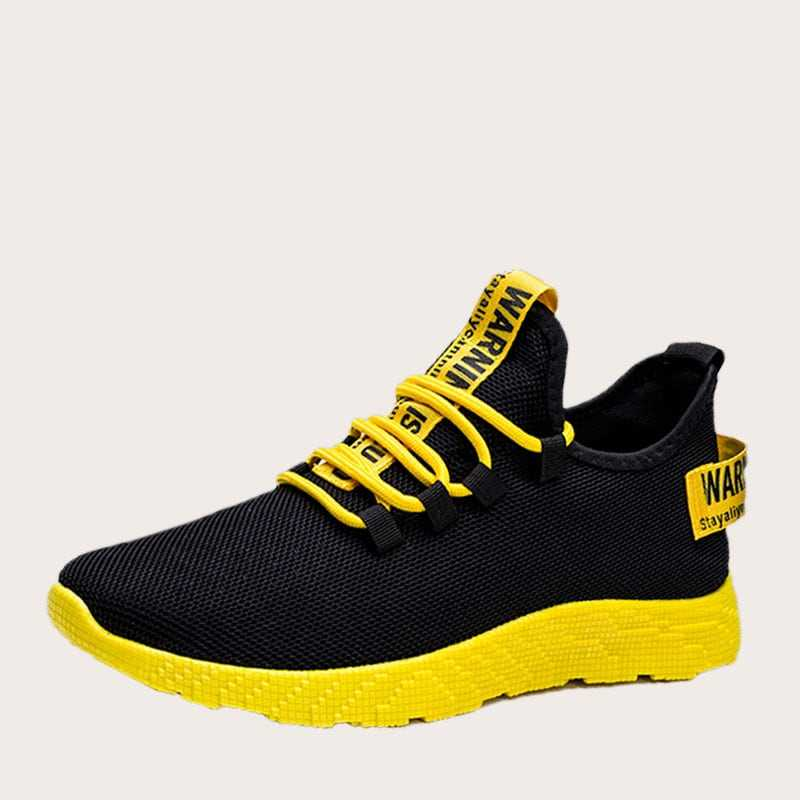 Guys Lace-up Front Slogan Ribbon Trainers in Black by ROMWE on GOOFASH