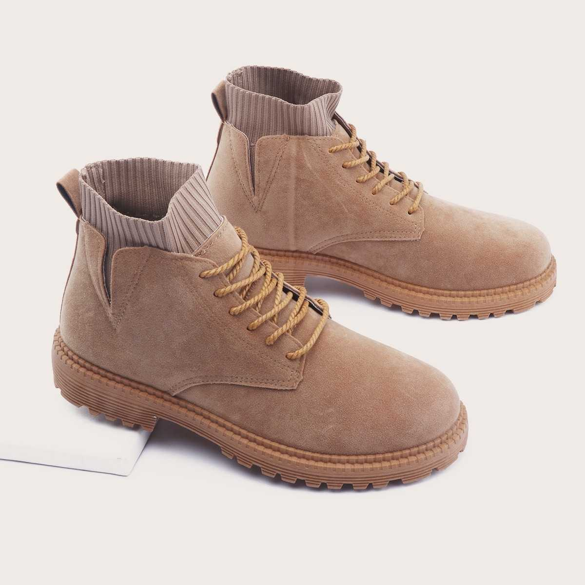 Guys Lace-up Front Suede Ankle Boots in Khaki by ROMWE on GOOFASH