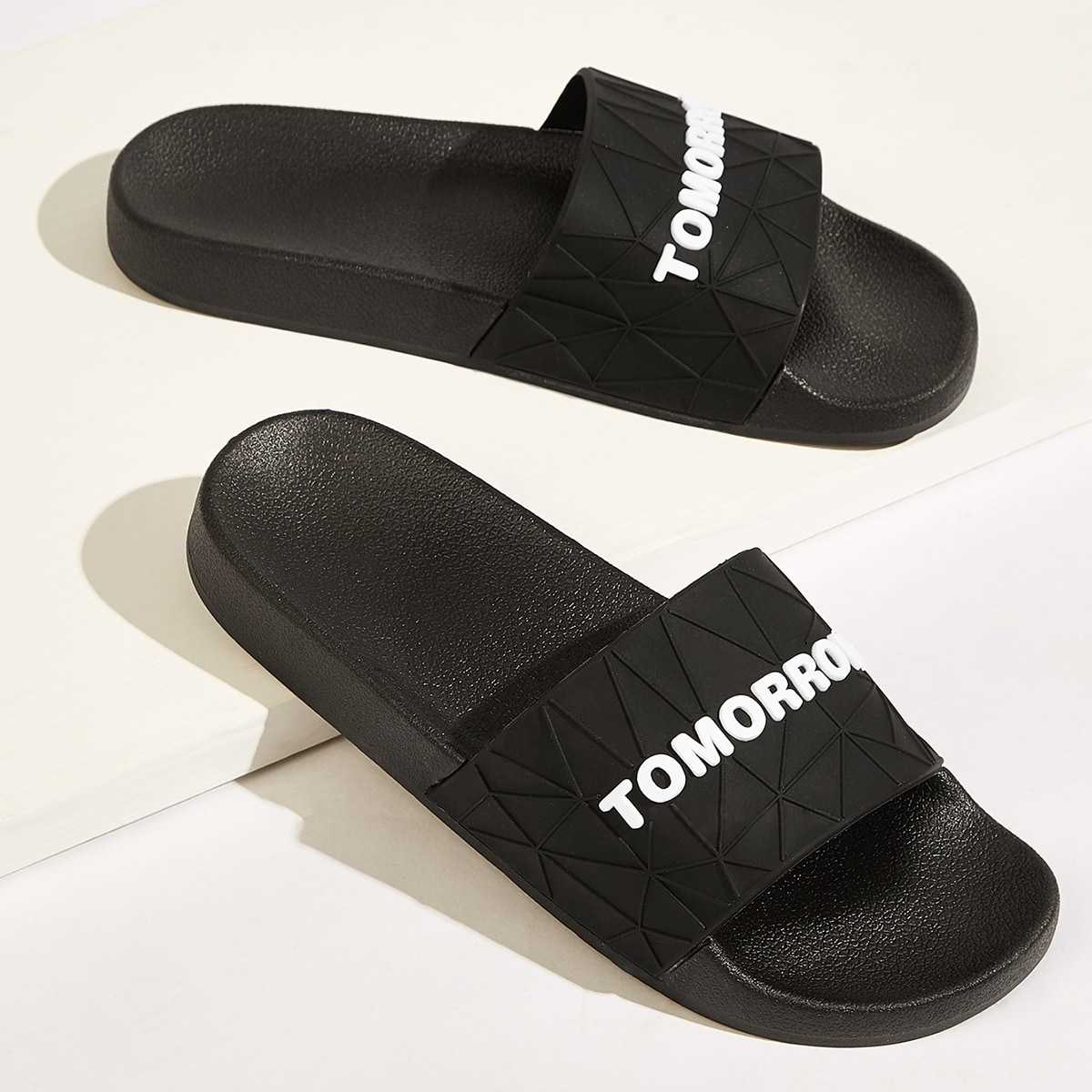 Guys Letter Decor Open Toe Sliders in Black and White by ROMWE on GOOFASH