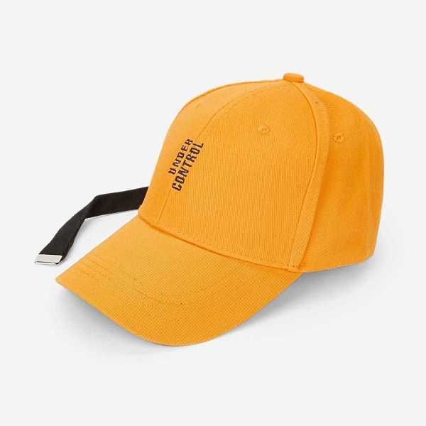 Guys Letter Embroidery Baseball Cap in Yellow by ROMWE on GOOFASH