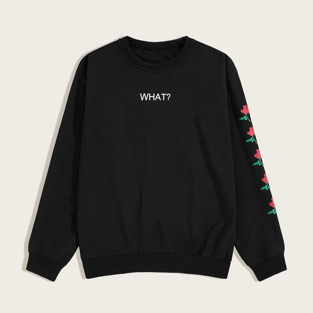 Guys Letter & Floral Print Sweatshirt in Black by ROMWE on GOOFASH