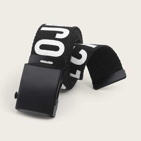 Guys Letter Pattern Buckle Belt in Black and White by ROMWE on GOOFASH