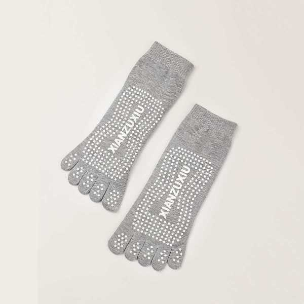 Guys Letter & Polka Dot Pattern Toesocks 1pair in Grey by ROMWE on GOOFASH