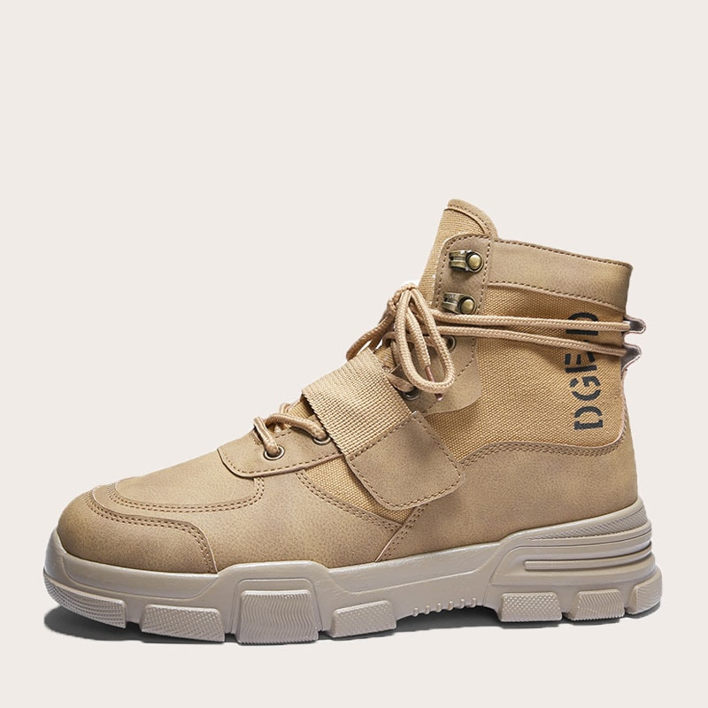 Guys Letter Print Lace-up Front Ankle Boots in Khaki by ROMWE on GOOFASH