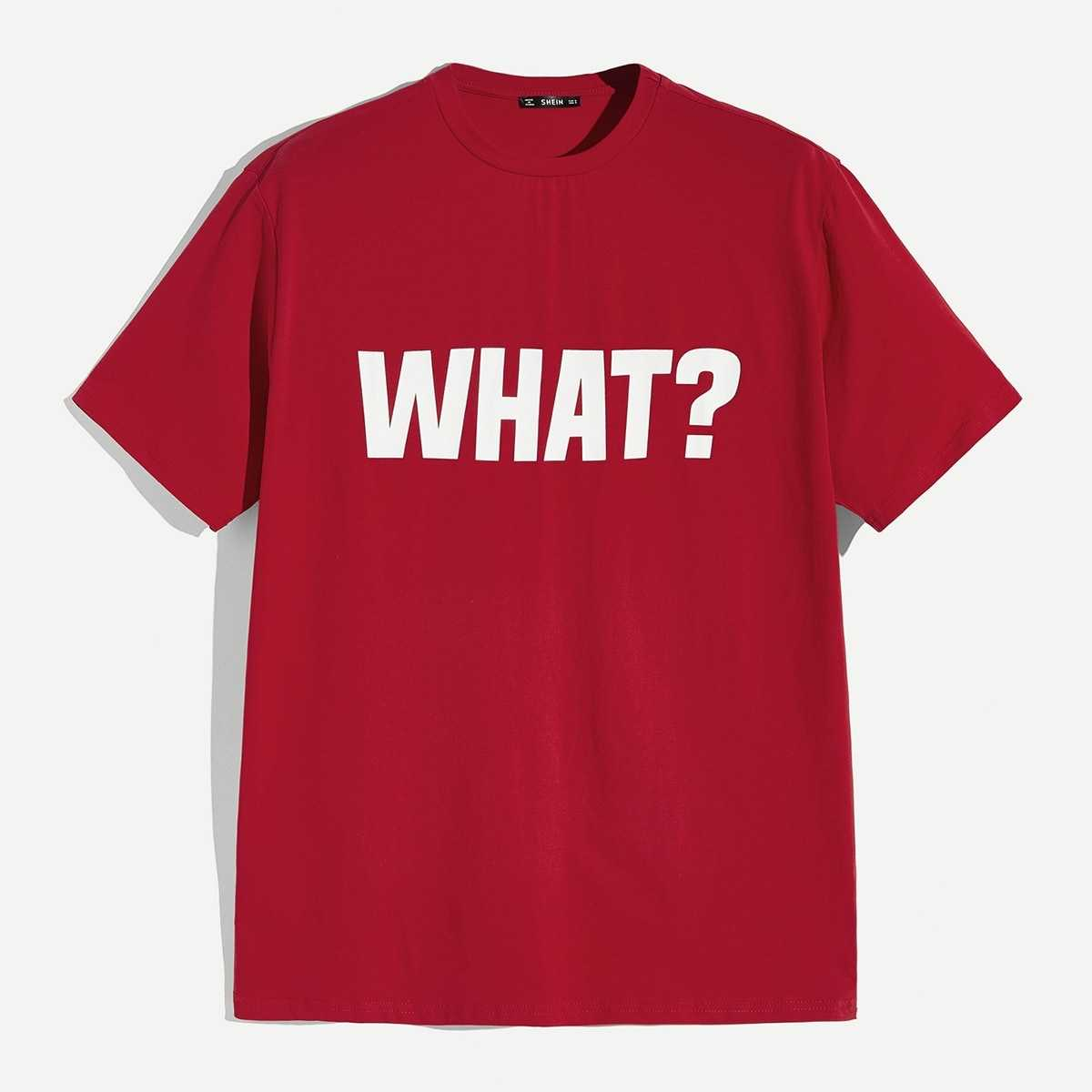 Guys Letter Print Tee in Red by ROMWE on GOOFASH
