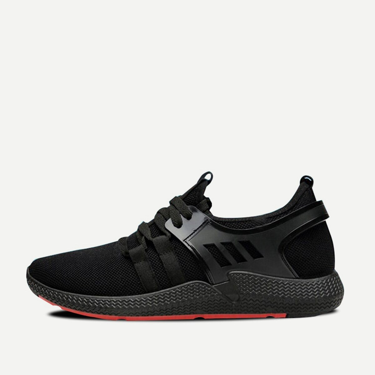 Guys Mesh Panel Lace-up Front Trainers in Black by ROMWE on GOOFASH