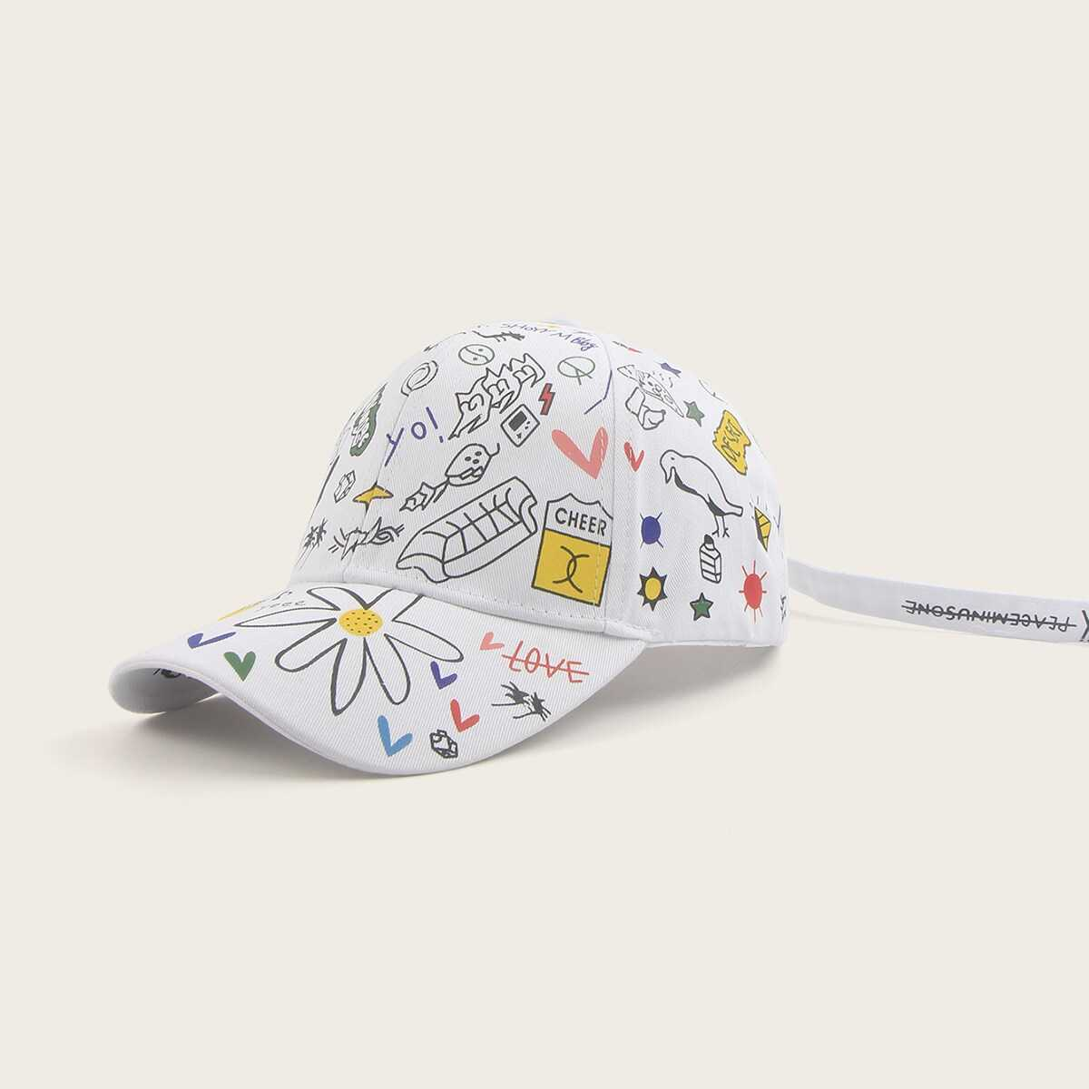 Guys Mix Pattern Baseball Cap in Multicolor by ROMWE on GOOFASH