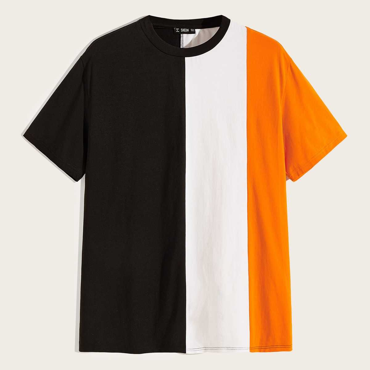 Guys Neon Color-block Tee in Multicolor Bright by ROMWE on GOOFASH