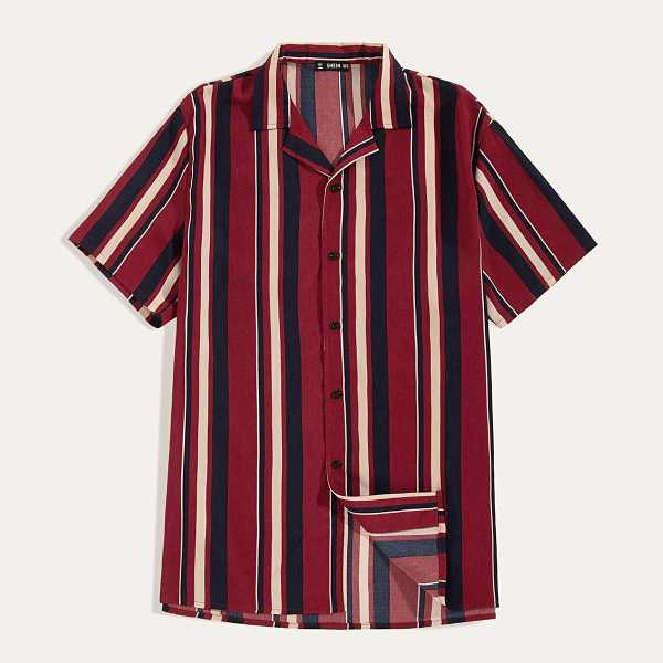 Guys Notch Collar Color-block Striped Shirt in Burgundy by ROMWE on GOOFASH