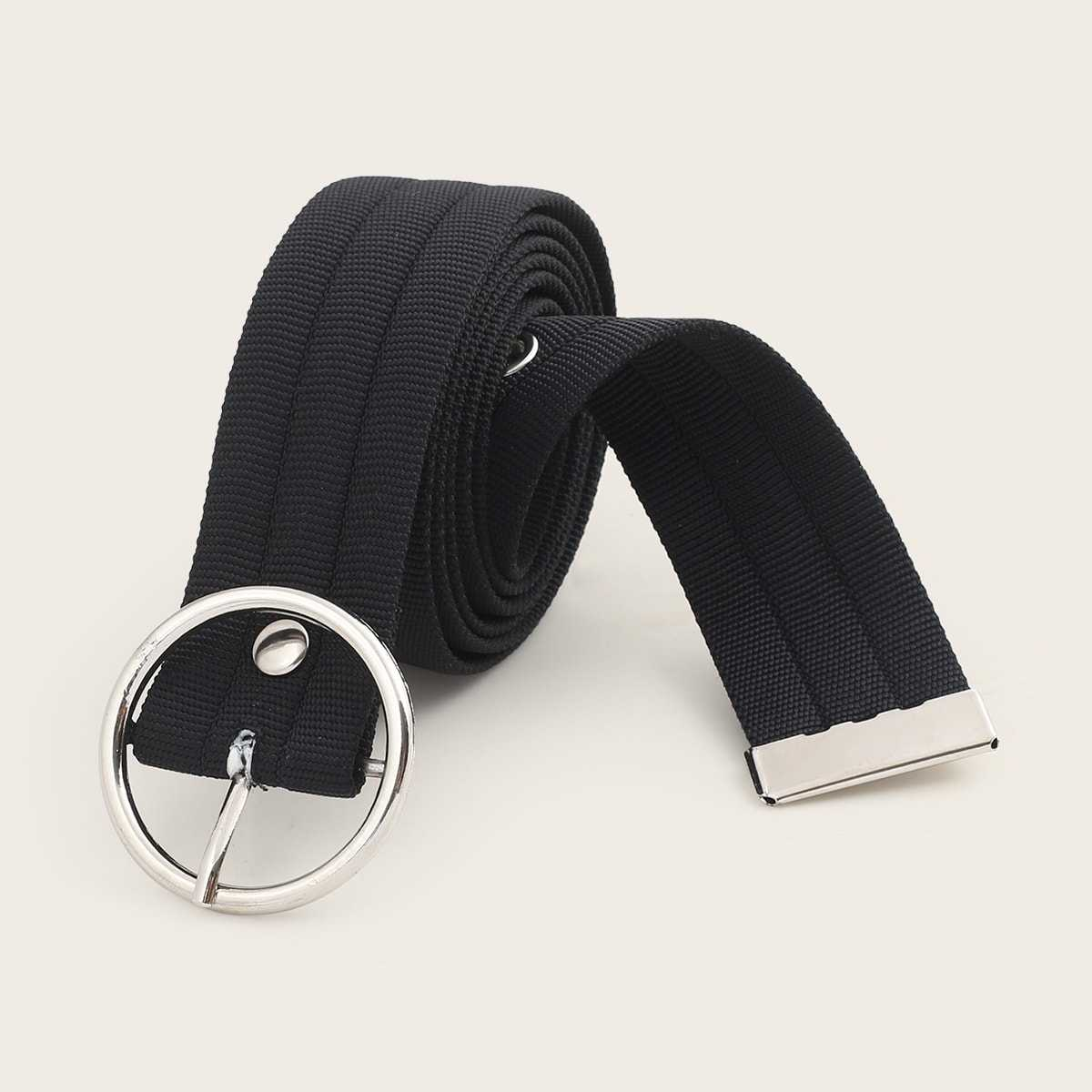 Guys O-ring Buckle Belt in Black by ROMWE on GOOFASH