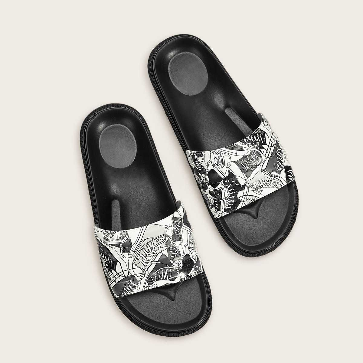 Guys Open Toe Wide Fit Sliders in Black and White by ROMWE on GOOFASH