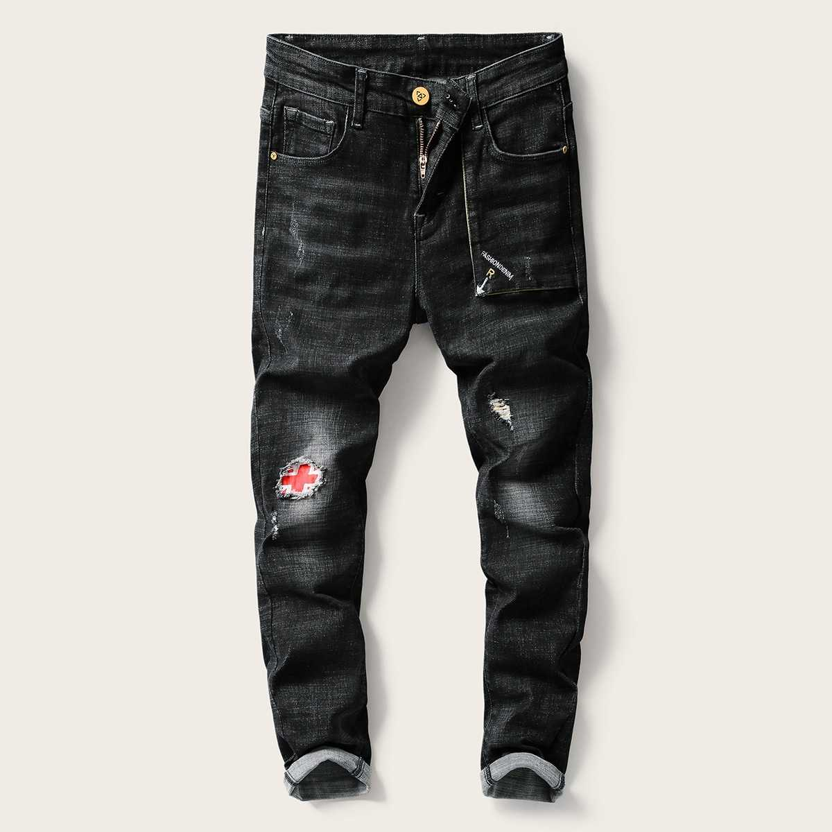 Guys Patched Cats Whiskers Ripped Jeans in Black by ROMWE on GOOFASH