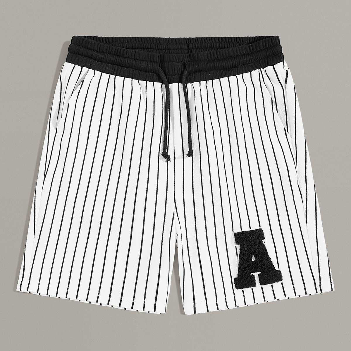 Guys Patched Detail Drawstring Waist Striped Shorts in White by ROMWE on GOOFASH