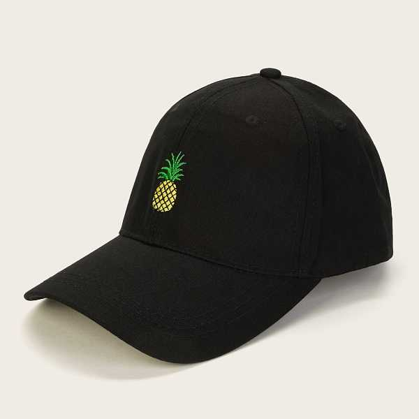 Guys Pineapple Embroidery Baseball Cap in Black by ROMWE on GOOFASH