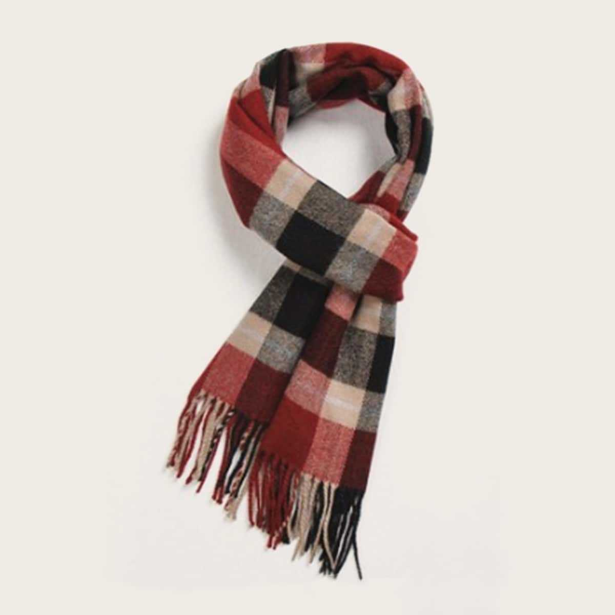 Guys Plaid Pattern Tassel Scarf in Multicolor by ROMWE on GOOFASH
