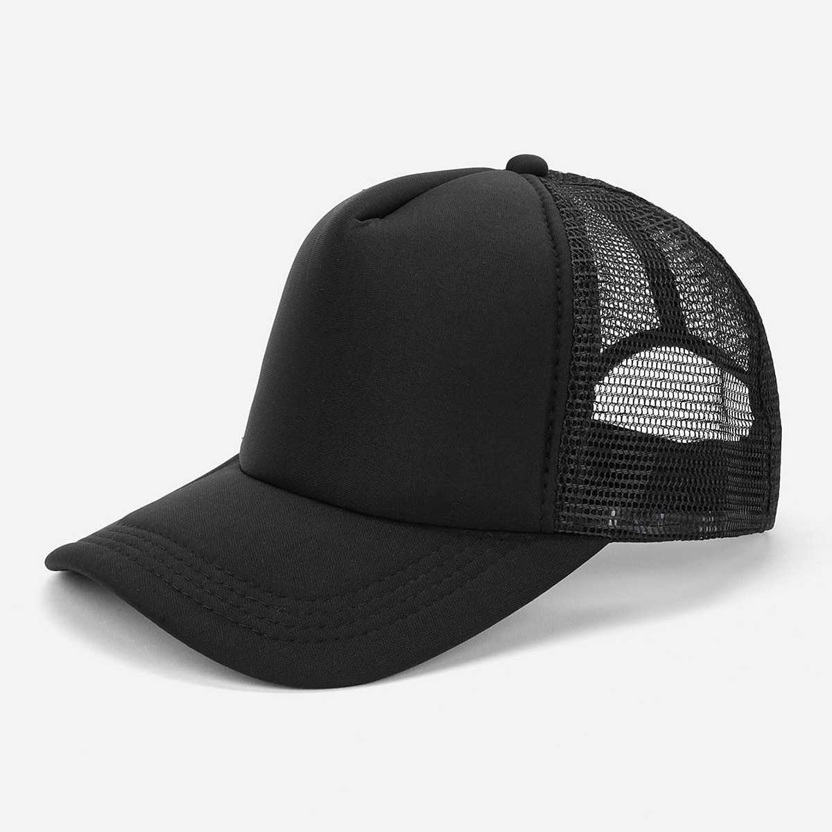 Guys Plain Contrast Mesh Baseball Cap in Black by ROMWE on GOOFASH