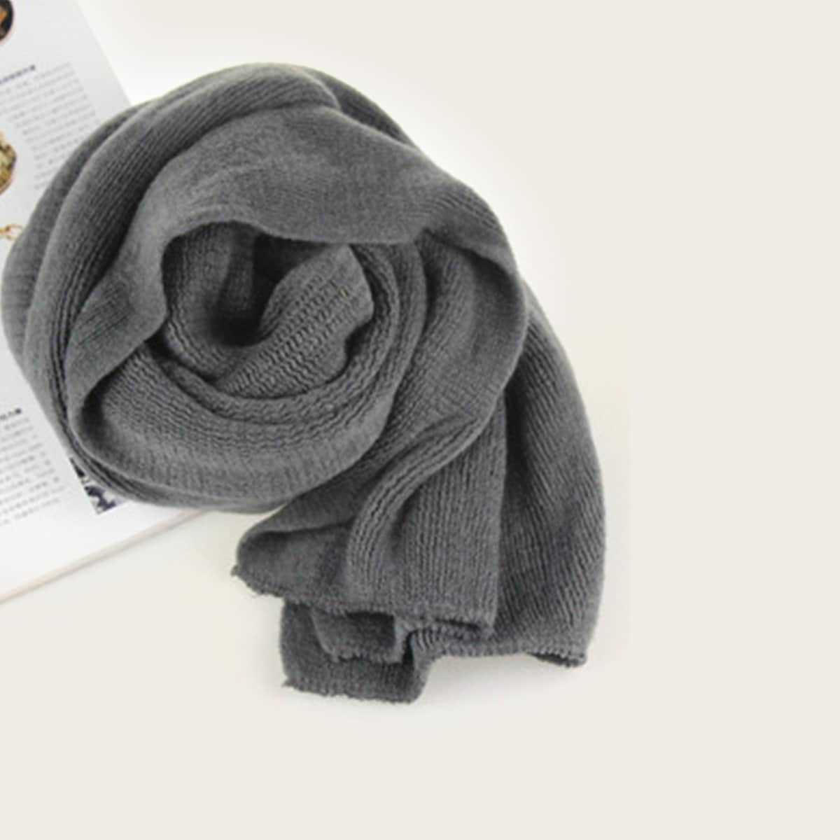 Guys Plain Long Scarf in Grey by ROMWE on GOOFASH