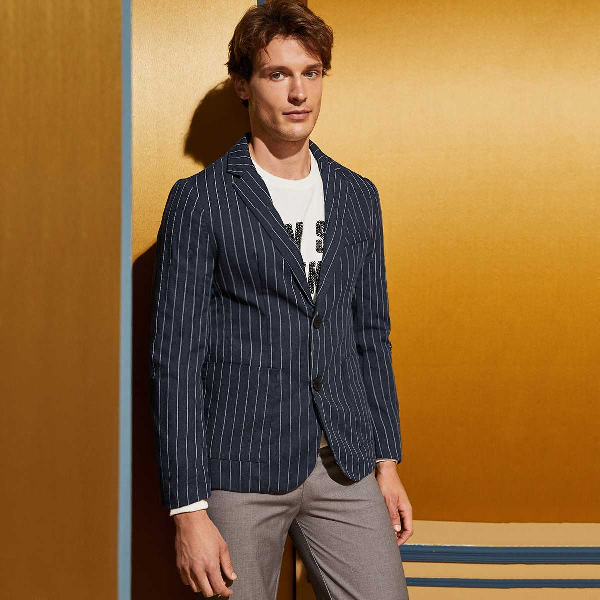 Guys Pocket Front Striped Blazer Without Shirt in Navy by ROMWE on GOOFASH