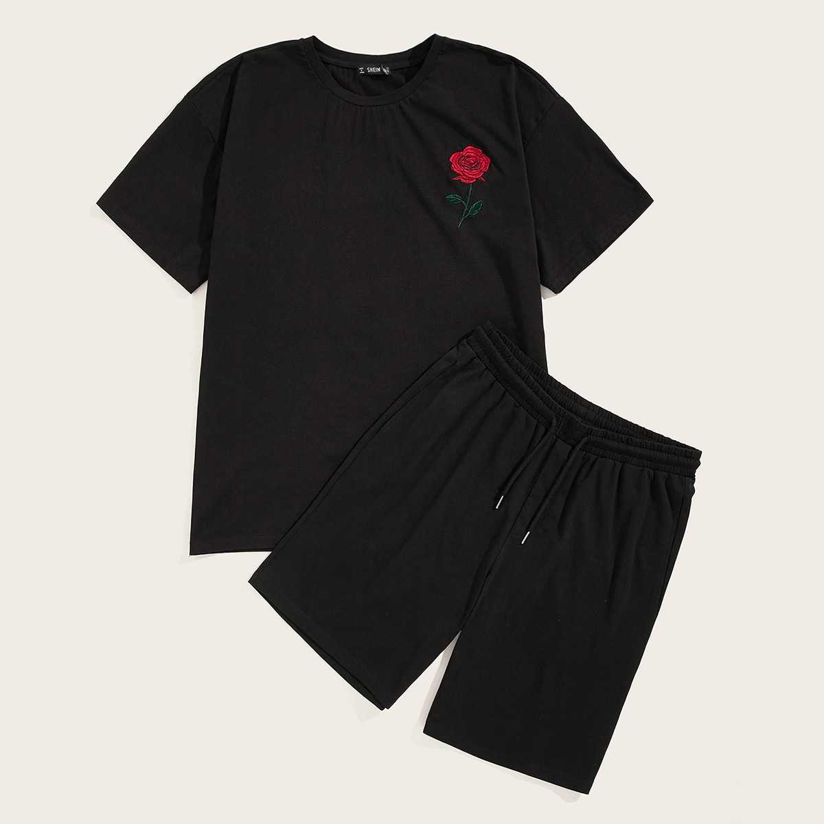 Guys Rose Embroidery Top & Drawstring Waist Shorts Set in Black by ROMWE on GOOFASH