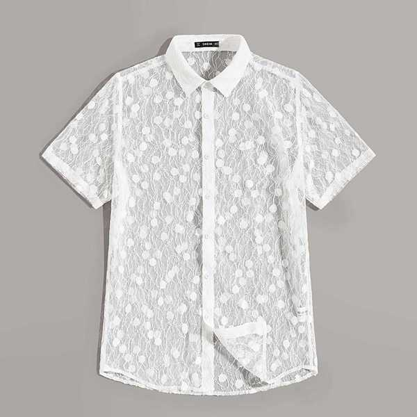 Guys Sheer Lace Overlay Shirt in White by ROMWE on GOOFASH