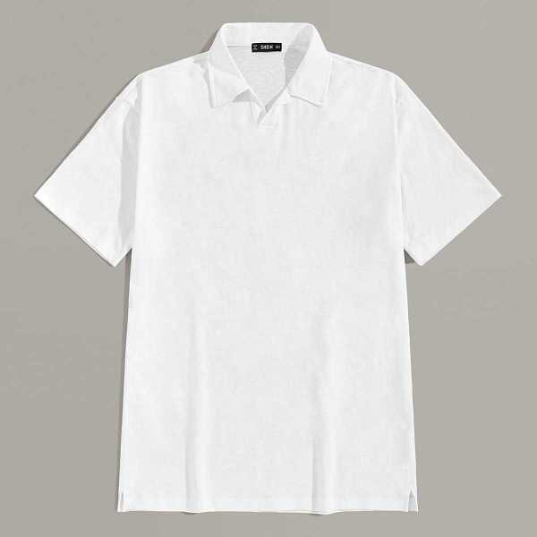 Guys Short Sleeve Solid Polo Shirt in White by ROMWE on GOOFASH