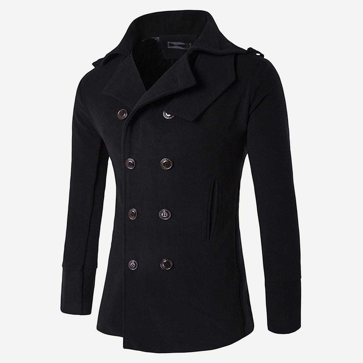 Guys Slit Back Solid Pea Coat in Black by ROMWE on GOOFASH