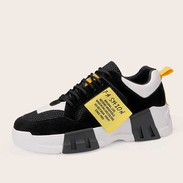 Guys Slogan Patch Chunky Sole Trainers in Multicolor by ROMWE on GOOFASH