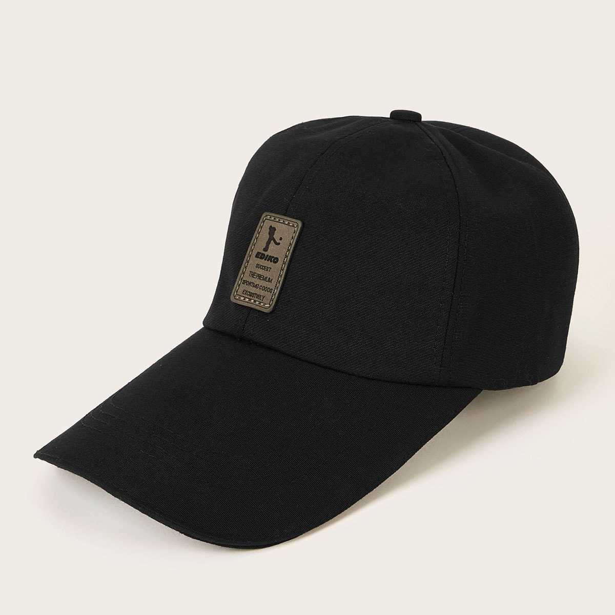 Guys Slogan Patched Baseball Cap in Black by ROMWE on GOOFASH