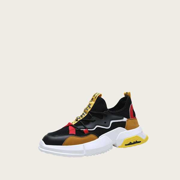 Guys Slogan Ribbon Chunky Sole Trainers in Multicolor by ROMWE on GOOFASH
