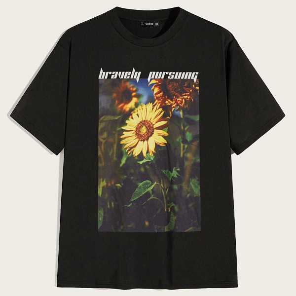 Guys Slogan and Sunflower Print Top in Black by ROMWE on GOOFASH