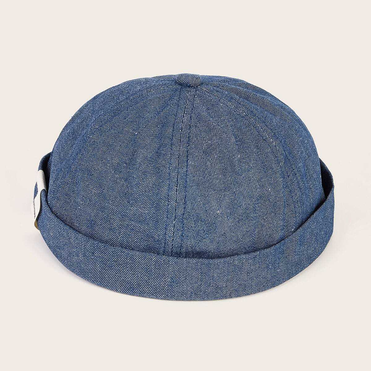 Guys Solid Cuffed Beanie in Blue by ROMWE on GOOFASH